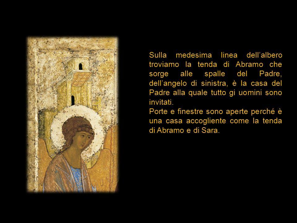 Sulla medesima linea dellalbero troviamo la tenda di Abramo che sorge alle spalle del Padre, dellangelo di sinistra, è la casa del Padre alla quale tu