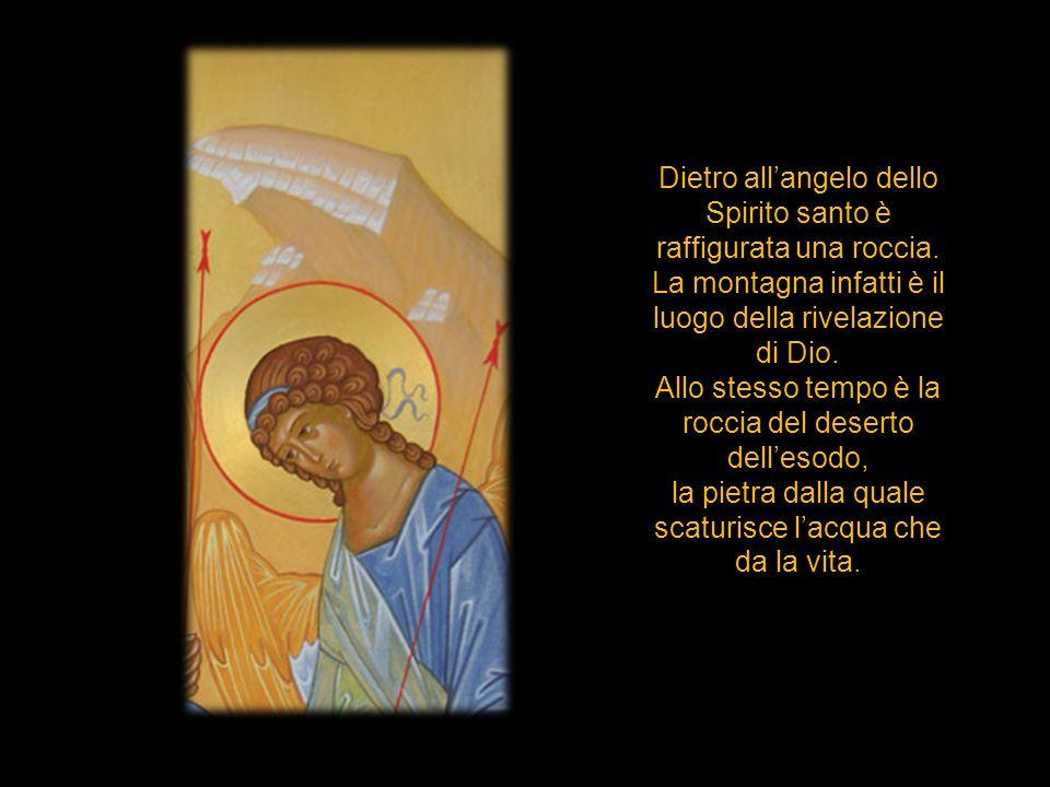 Dietro allangelo dello Spirito santo è raffigurata una roccia. La montagna infatti è il luogo della rivelazione di Dio. Allo stesso tempo è la roccia