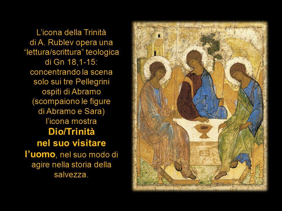 Licona della Trinità di A. Rublev opera una lettura/scrittura teologica di Gn 18,1-15: concentrando la scena solo sui tre Pellegrini ospiti di Abramo