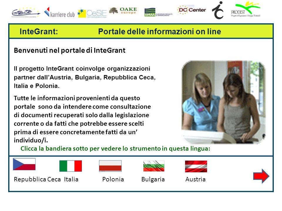InteGrant: Portale delle informazioni on line Benvenuti nel portale di InteGrant Il progetto InteGrant coinvolge organizzazioni partner dallAustria, Bulgaria, Repubblica Ceca, Italia e Polonia.