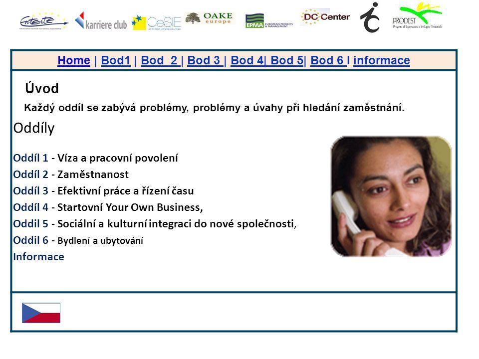 + HomeHome | Bod1 | Bod 2 | Bod 3 | Bod 4| Bod 5| Bod 6 I informace Úvod Každý oddíl se zabývá problémy, problémy a úvahy při hledání zaměstnání.