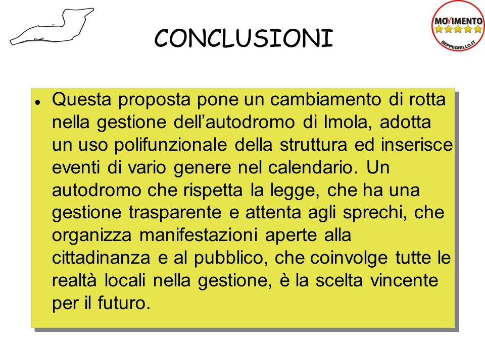 CONCLUSIONI Questa proposta pone un cambiamento di rotta nella gestione dellautodromo di Imola, adotta un uso polifunzionale della struttura ed inseri
