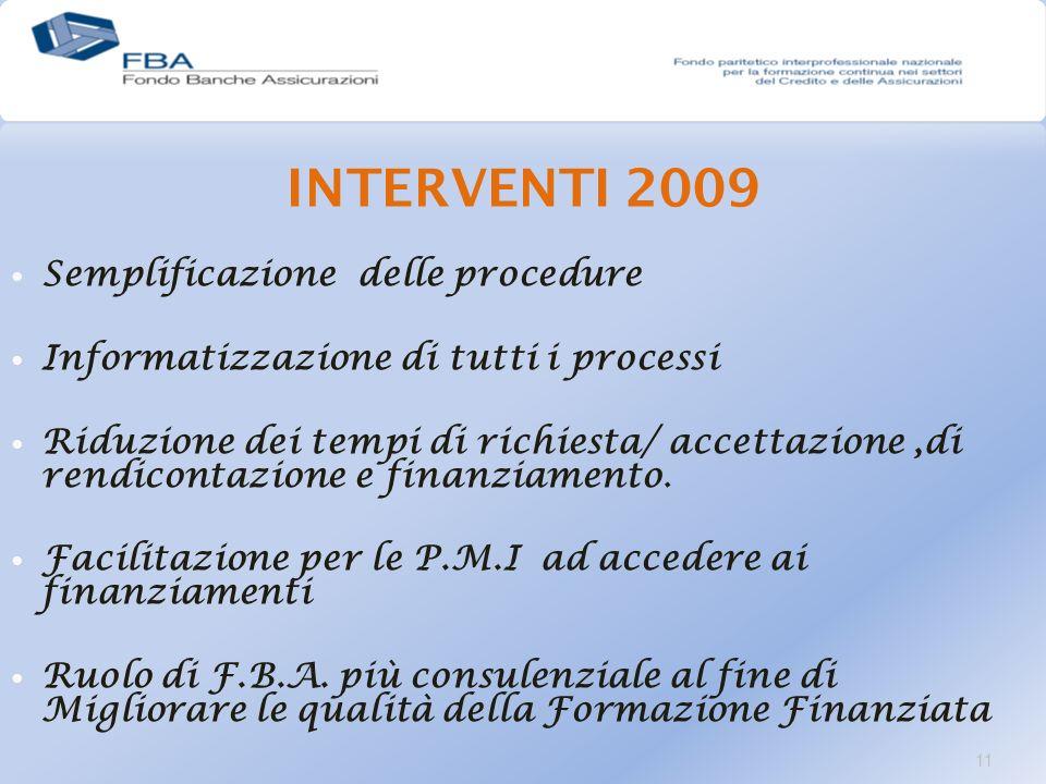 INTERVENTI 2009 Semplificazione delle procedure Informatizzazione di tutti i processi Riduzione dei tempi di richiesta/ accettazione,di rendicontazione e finanziamento.
