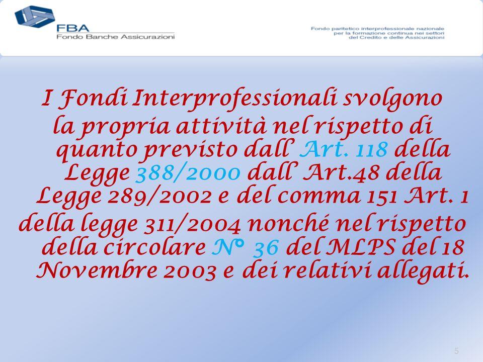 I Fondi Interprofessionali svolgono la propria attività nel rispetto di quanto previsto dall Art.
