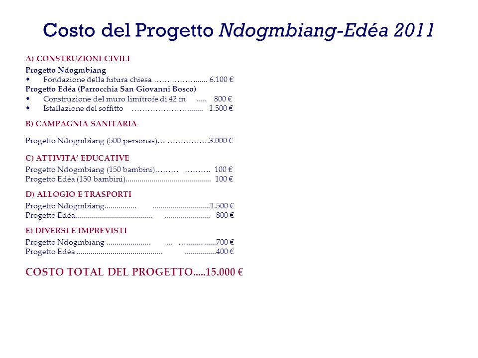 Costo del Progetto Ndogmbiang-Edéa 2011 A) CONSTRUZIONI CIVILI Progetto Ndogmbiang Fondazione della futura chiesa …… ………......