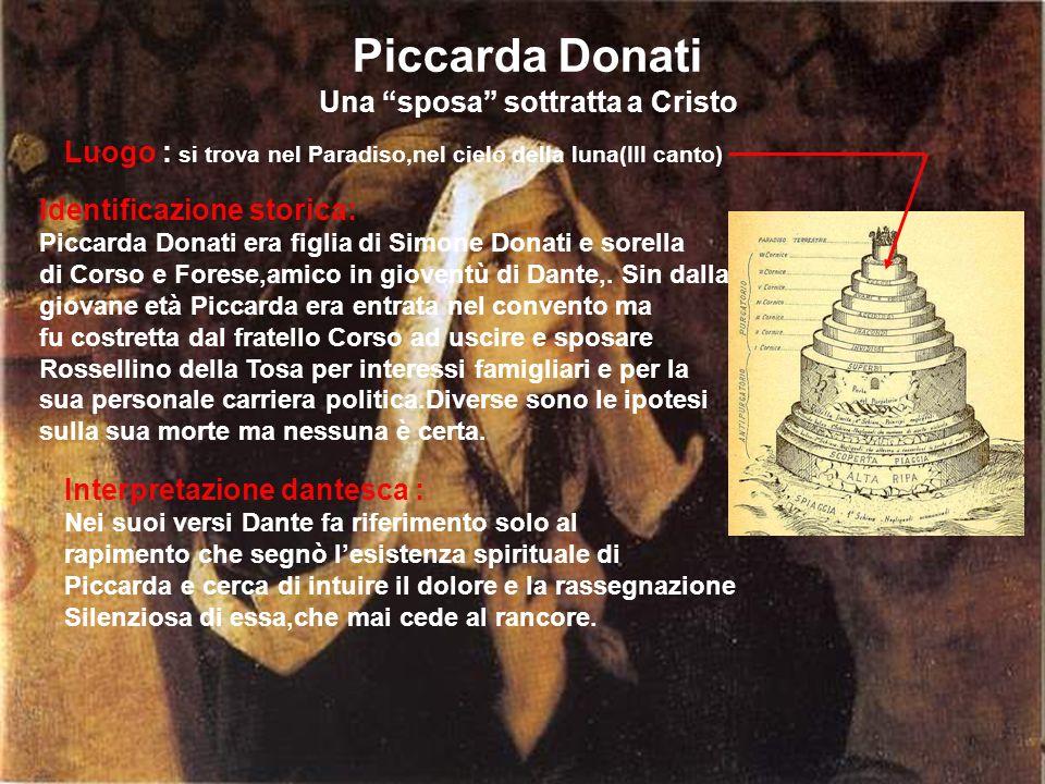 Piccarda Donati Una sposa sottratta a Cristo Luogo : si trova nel Paradiso,nel cielo della luna(III canto) Identificazione storica: Piccarda Donati er