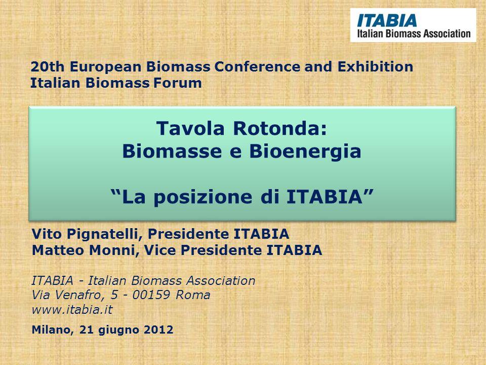 Tavola Rotonda: Biomasse e Bioenergia La posizione di ITABIA Tavola Rotonda: Biomasse e Bioenergia La posizione di ITABIA Vito Pignatelli, Presidente