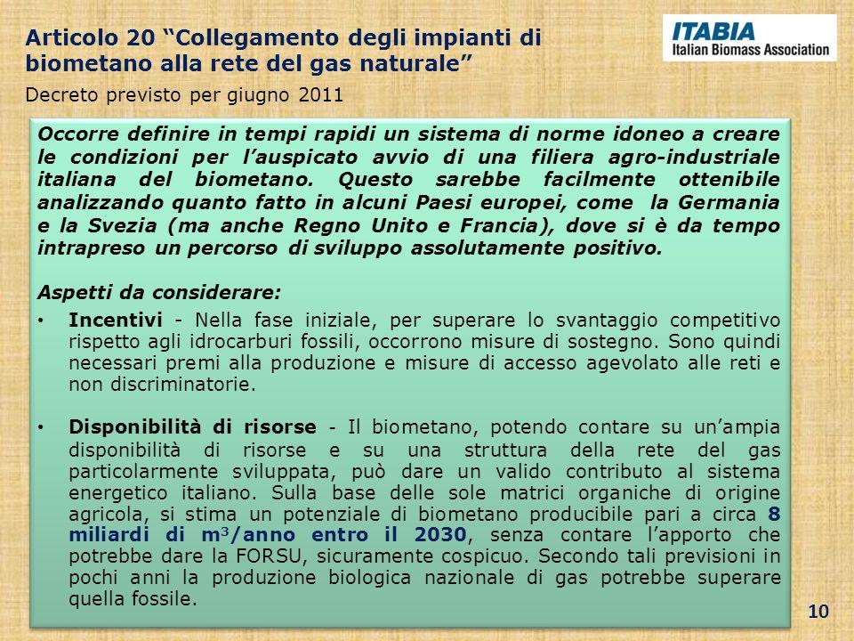 Articolo 20 Collegamento degli impianti di biometano alla rete del gas naturale Decreto previsto per giugno 2011 Occorre definire in tempi rapidi un s