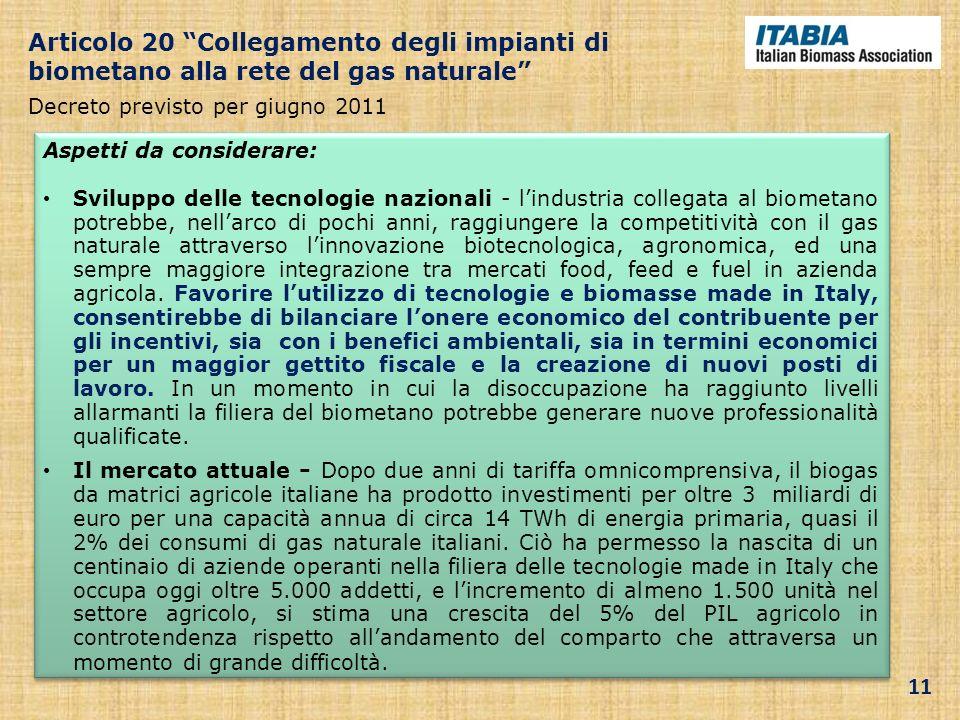 Articolo 20 Collegamento degli impianti di biometano alla rete del gas naturale Decreto previsto per giugno 2011 Aspetti da considerare: Sviluppo dell