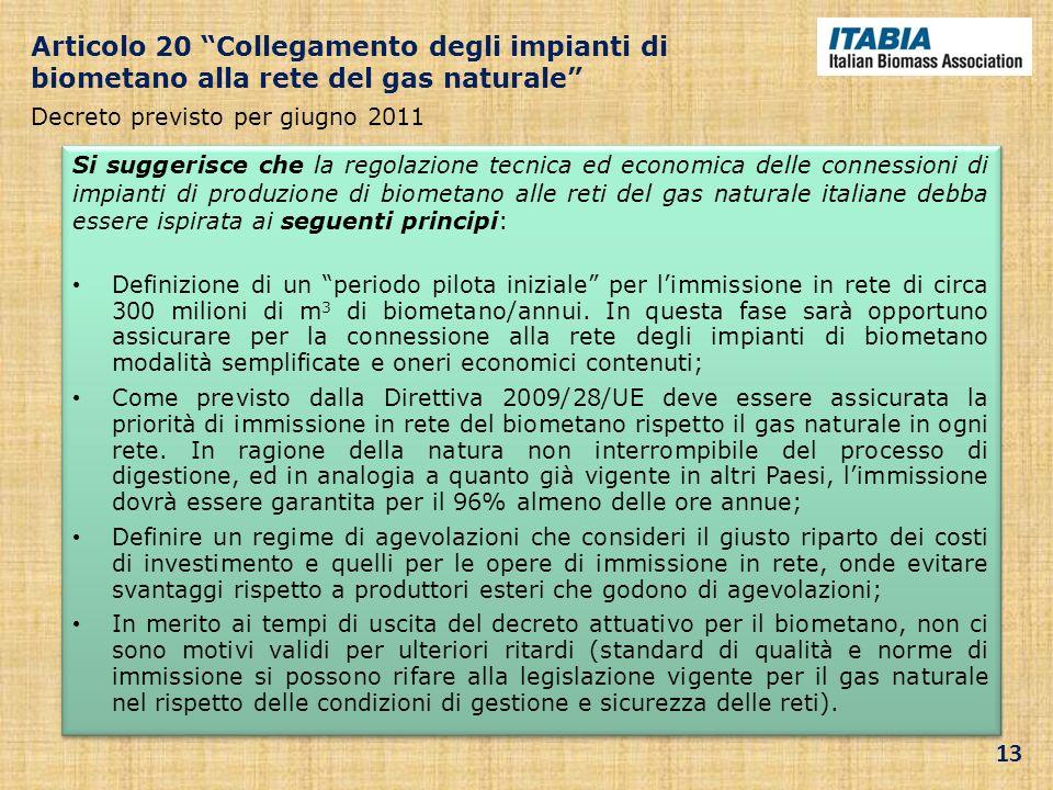Si suggerisce che la regolazione tecnica ed economica delle connessioni di impianti di produzione di biometano alle reti del gas naturale italiane deb