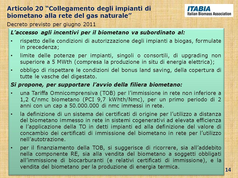 Laccesso agli incentivi per il biometano va subordinato al: rispetto delle condizioni di autorizzazione degli impianti a biogas, formulate in preceden
