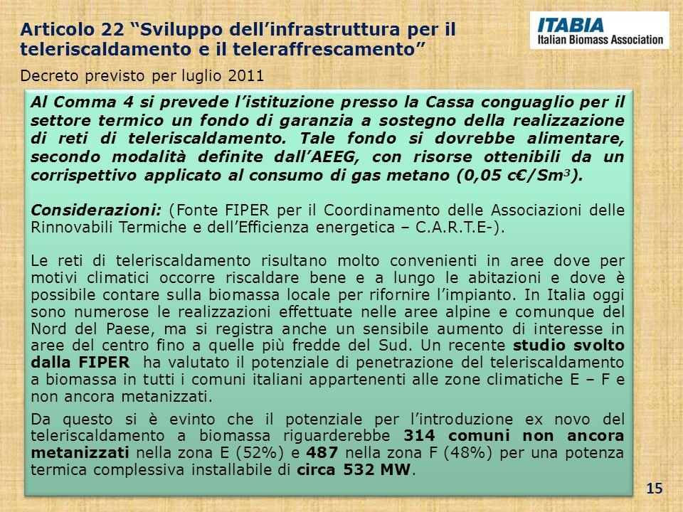 Articolo 22 Sviluppo dellinfrastruttura per il teleriscaldamento e il teleraffrescamento Decreto previsto per luglio 2011 Al Comma 4 si prevede listit