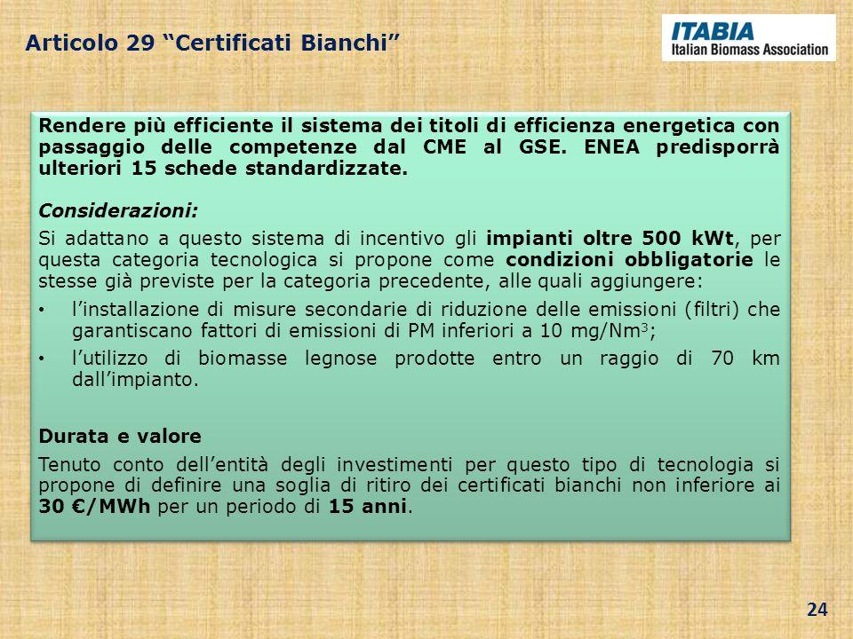 Articolo 29 Certificati Bianchi Rendere più efficiente il sistema dei titoli di efficienza energetica con passaggio delle competenze dal CME al GSE. E