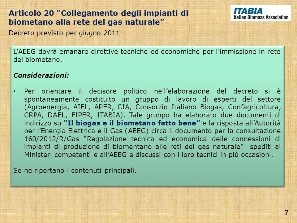 Articolo 20 Collegamento degli impianti di biometano alla rete del gas naturale Decreto previsto per giugno 2011 L'AEEG dovrà emanare direttive tecnic