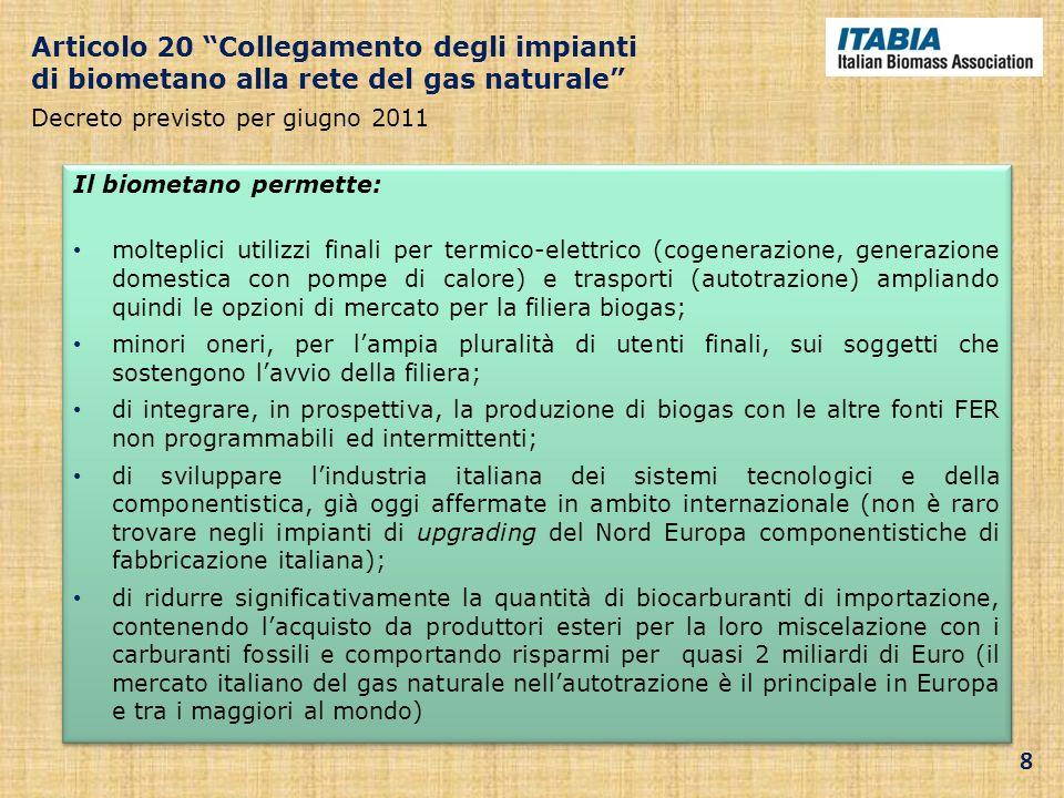 Articolo 20 Collegamento degli impianti di biometano alla rete del gas naturale Decreto previsto per giugno 2011 Il biometano permette: molteplici uti