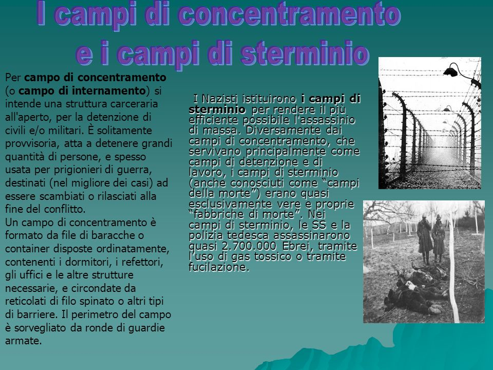 I Nazisti istituirono i campi di sterminio per rendere il più efficiente possibile l assassinio di massa.
