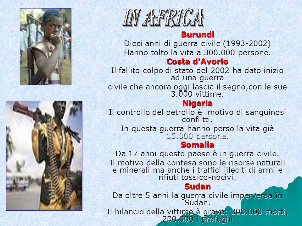 Burundi Dieci anni di guerra civile (1993-2002) Hanno tolto la vita a 300.000 persone.