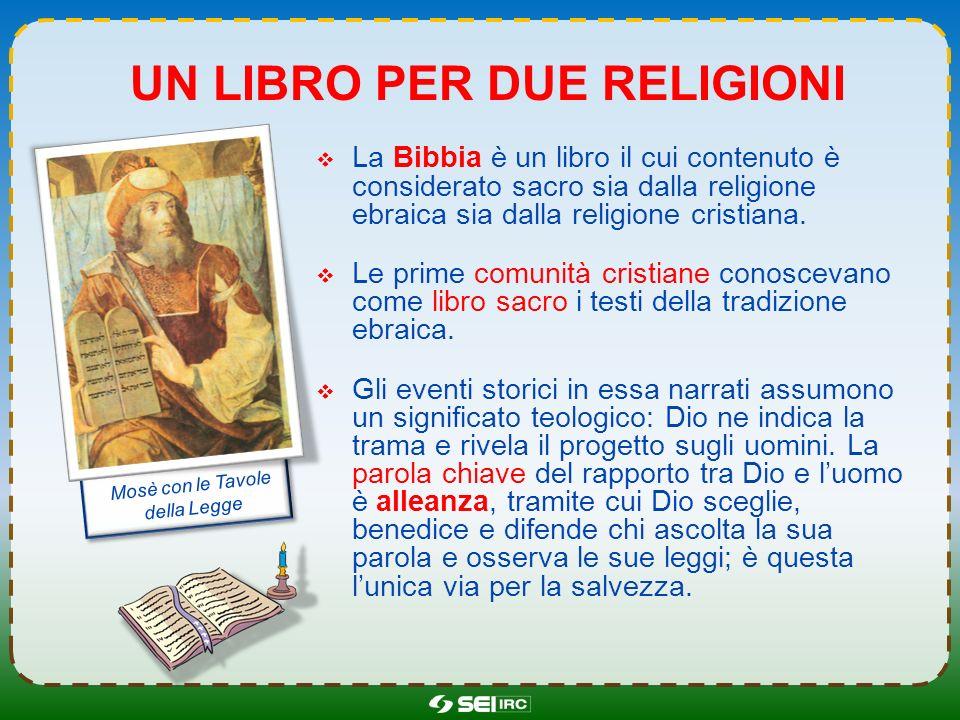 UN LIBRO PER DUE RELIGIONI La Bibbia è un libro il cui contenuto è considerato sacro sia dalla religione ebraica sia dalla religione cristiana. Le pri