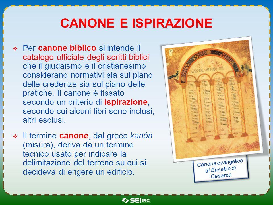 CANONE E ISPIRAZIONE Per canone biblico si intende il catalogo ufficiale degli scritti biblici che il giudaismo e il cristianesimo considerano normati