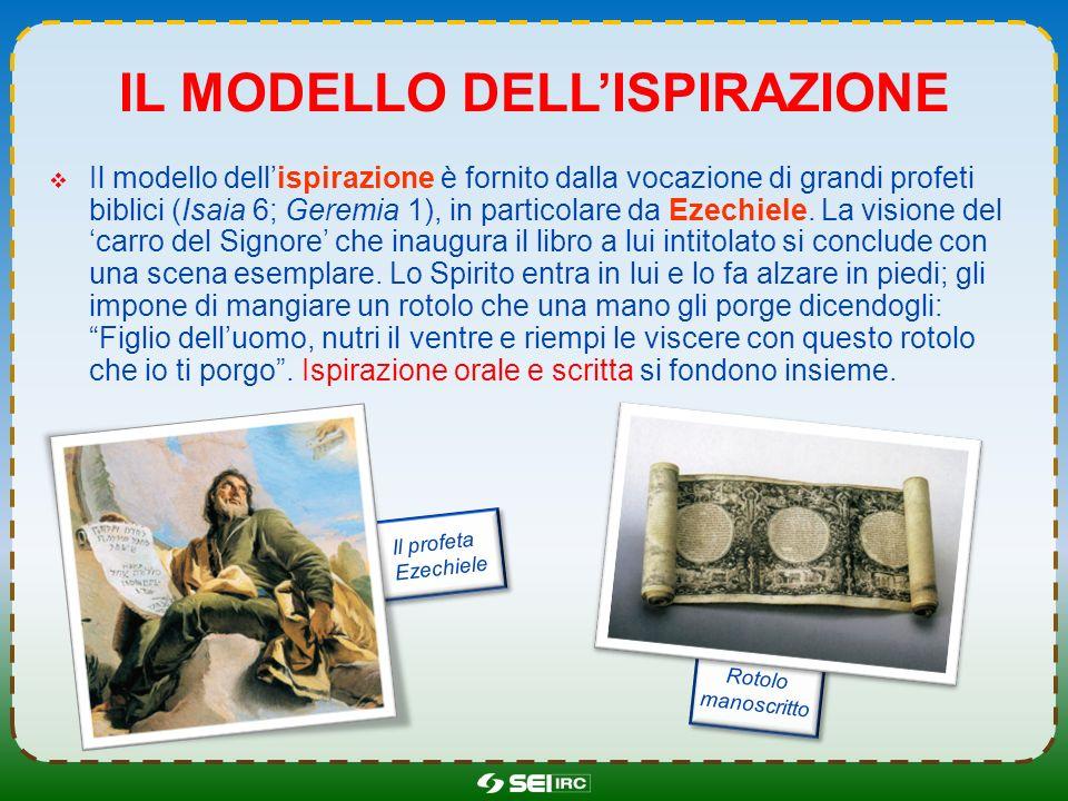 IL MODELLO DELLISPIRAZIONE Il modello dellispirazione è fornito dalla vocazione di grandi profeti biblici (Isaia 6; Geremia 1), in particolare da Ezec