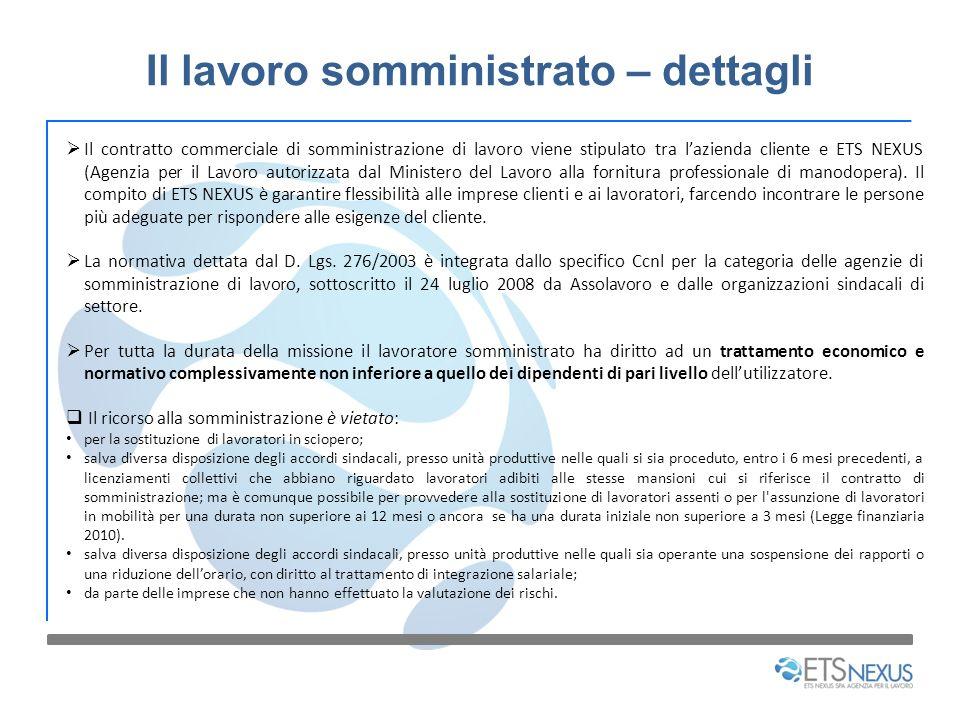Il lavoro somministrato – dettagli Il contratto commerciale di somministrazione di lavoro viene stipulato tra lazienda cliente e ETS NEXUS (Agenzia pe