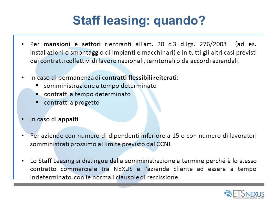Staff leasing: quando? Per mansioni e settori rientranti allart. 20 c.3 d.lgs. 276/2003 (ad es. installazioni o smontaggio di impianti e macchinari) e
