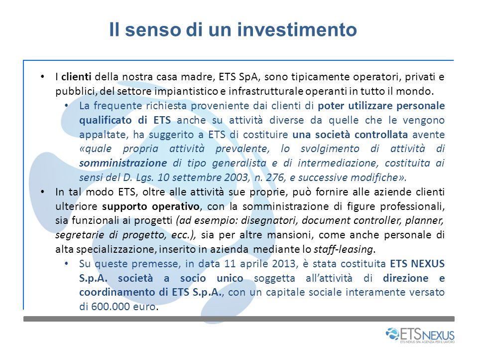 Il senso di un investimento I clienti della nostra casa madre, ETS SpA, sono tipicamente operatori, privati e pubblici, del settore impiantistico e in