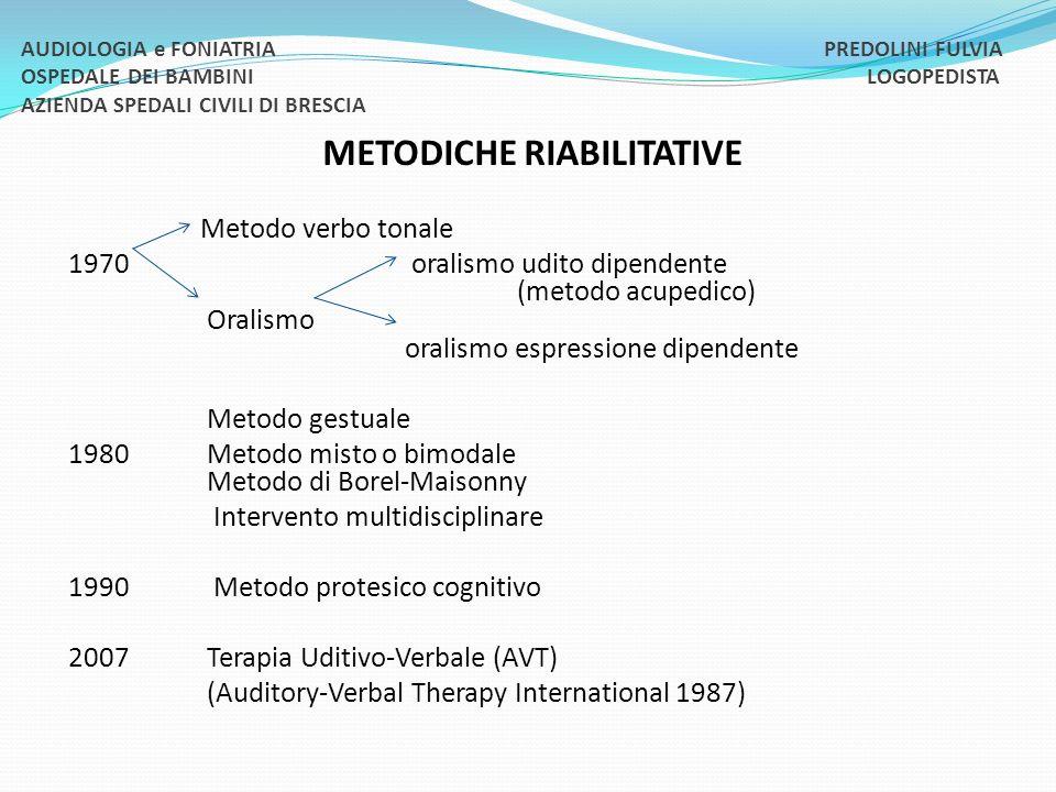 METODICHE RIABILITATIVE Metodo verbo tonale 1970 oralismo udito dipendente (metodo acupedico) Oralismo oralismo espressione dipendente Metodo gestuale