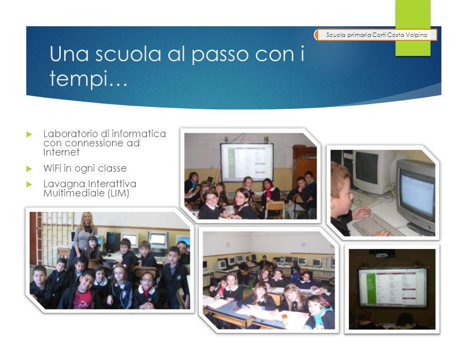 Una scuola al passo con i tempi… Laboratorio di informatica con connessione ad Internet WiFi in ogni classe Lavagna Interattiva Multimediale (LIM) Scuola primaria Corti Costa Volpino