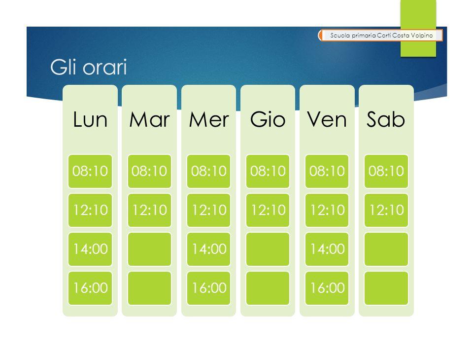 Gli orari Lun 08:1012:1014:0016:00 Mar 08:1012:10 Mer 08:1012:1014:0016:00 Gio 08:1012:10 Ven 08:1012:1014:0016:00 Sab 08:1012:10 Scuola primaria Corti Costa Volpino