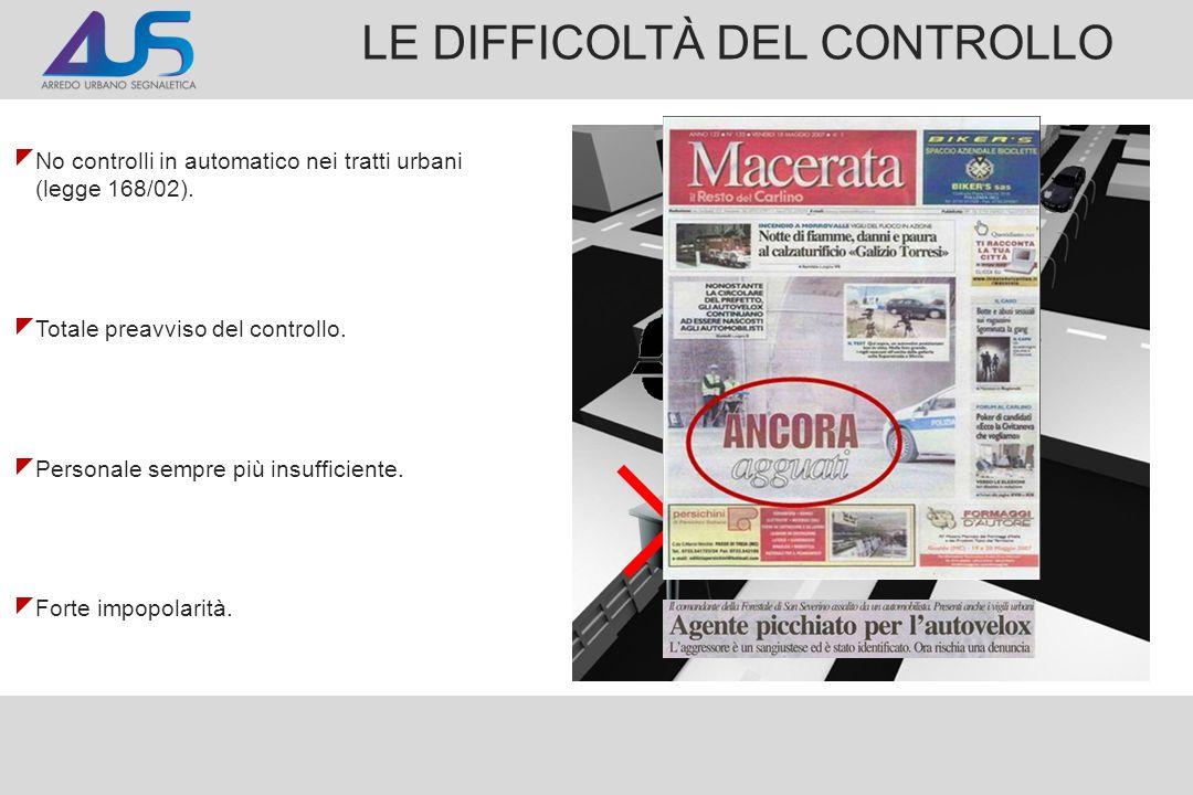 LE DIFFICOLTÀ DEL CONTROLLO No controlli in automatico nei tratti urbani (legge 168/02). Totale preavviso del controllo. Personale sempre più insuffic