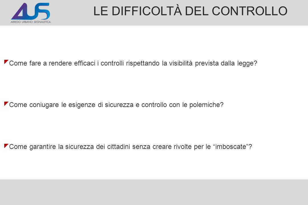 LE DIFFICOLTÀ DEL CONTROLLO Come fare a rendere efficaci i controlli rispettando la visibilità prevista dalla legge.