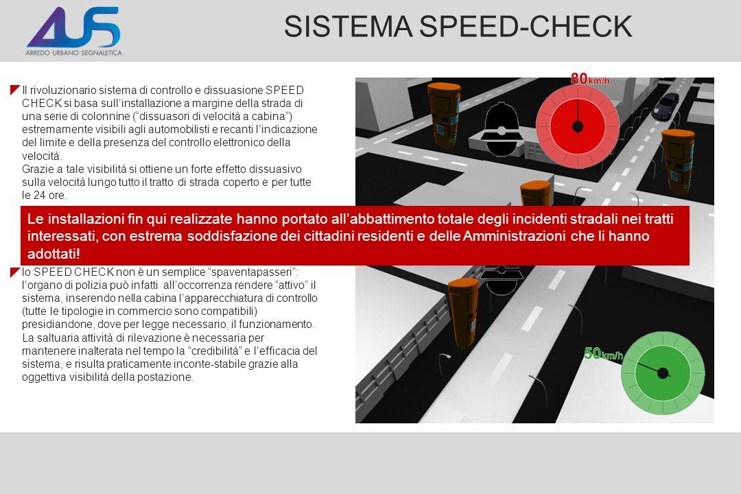 SISTEMA SPEED-CHECK Il rivoluzionario sistema di controllo e dissuasione SPEED CHECK si basa sullinstallazione a margine della strada di una serie di colonnine (dissuasori di velocità a cabina) estremamente visibili agli automobilisti e recanti lindicazione del limite e della presenza del controllo elettronico della velocità.