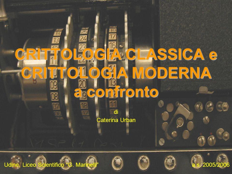 Udine, Liceo Scientifico G. Marinelli CRITTOLOGIA CLASSICA e CRITTOLOGIA MODERNA a confronto di Caterina Urban a.s. 2005/2006