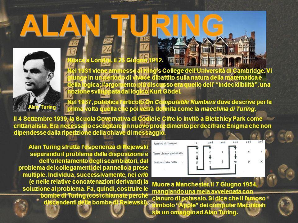 Alan Turing Il 4 Settembre 1939, la Scuola Governativa di Codici e Cifre lo invitò a Bletchley Park come crittanalista. Era necessario escogitare un n