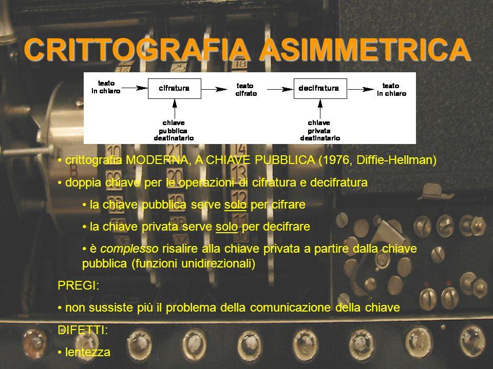 CRITTOGRAFIA ASIMMETRICA crittografia MODERNA, A CHIAVE PUBBLICA (1976, Diffie-Hellman) doppia chiave per le operazioni di cifratura e decifratura la