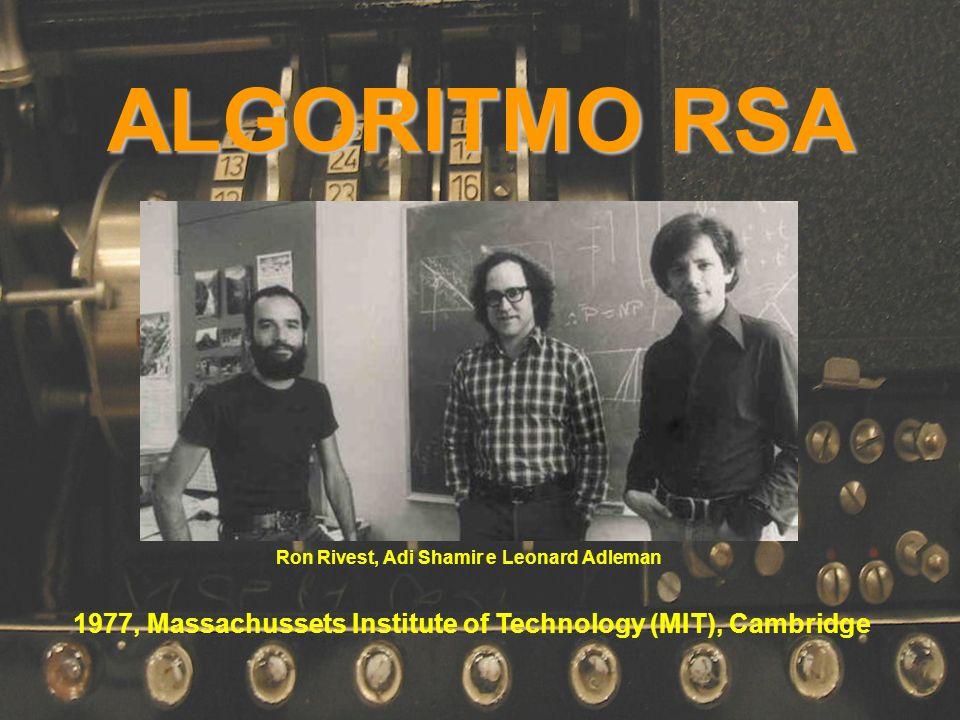 ALGORITMO RSA 1977, Massachussets Institute of Technology (MIT), Cambridge Ron Rivest, Adi Shamir e Leonard Adleman