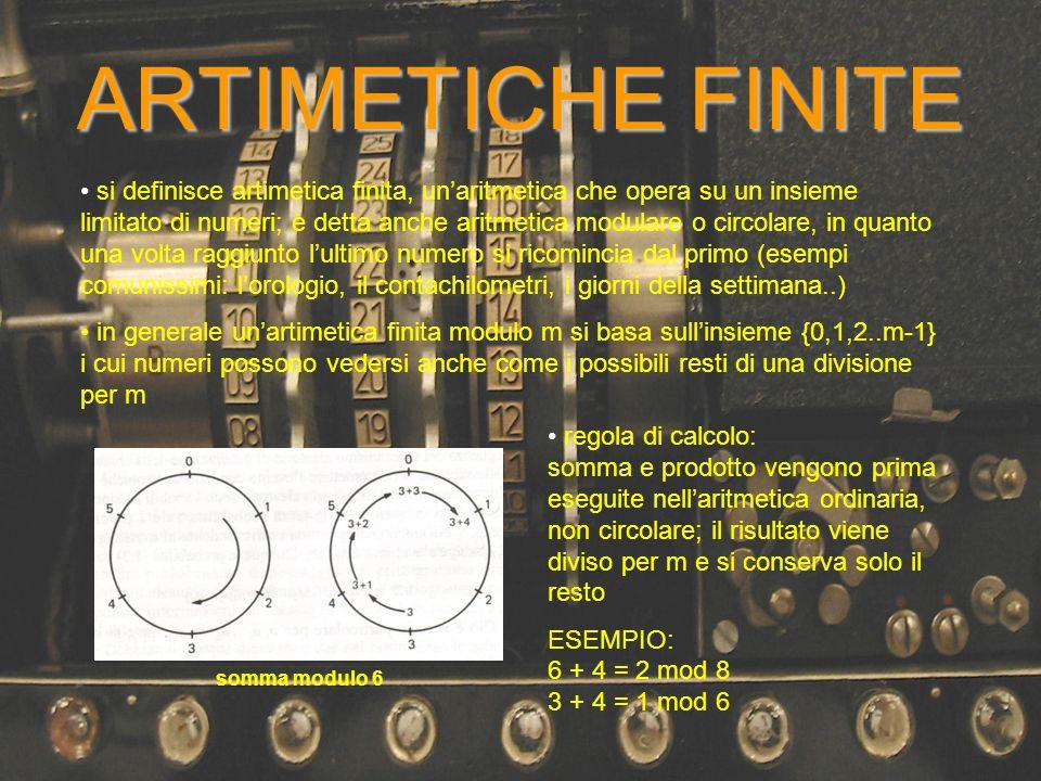ARTIMETICHE FINITE si definisce artimetica finita, unaritmetica che opera su un insieme limitato di numeri; è detta anche aritmetica modulare o circol