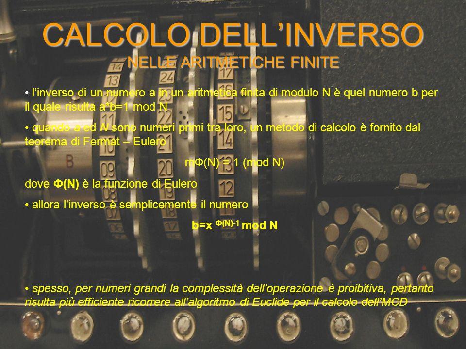 CALCOLO DELLINVERSO NELLE ARITMETICHE FINITE linverso di un numero a in un aritmetica finita di modulo N è quel numero b per il quale risulta a*b=1 mo