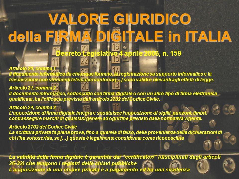 VALORE GIURIDICO della FIRMA DIGITALE in ITALIA Decreto Legislativo 4 aprile 2006, n. 159 Articolo 20, comma 1 Il documento informatico da chiunque fo