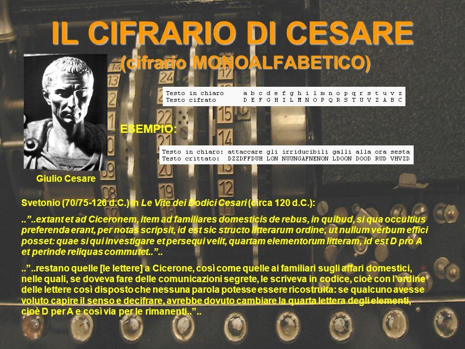 IL CIFRARIO DI CESARE (cifrario MONOALFABETICO) Svetonio (70/75-126 d.C.) in Le Vite dei Dodici Cesari (circa 120 d.C.):....extant et ad Ciceronem, it