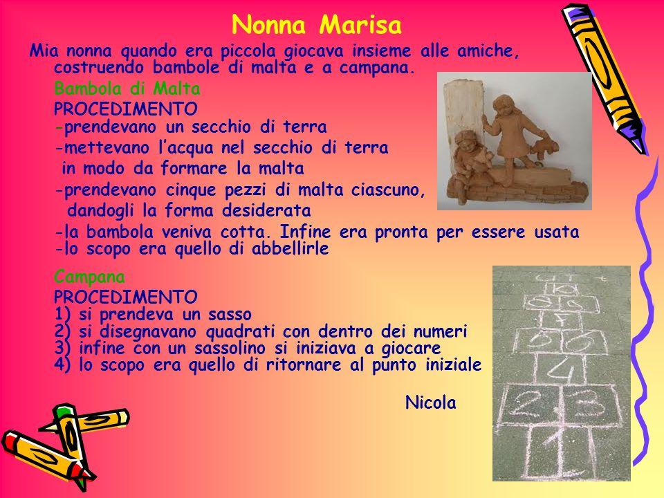 Nonna Marisa Mia nonna quando era piccola giocava insieme alle amiche, costruendo bambole di malta e a campana. Bambola di Malta PROCEDIMENTO -prendev