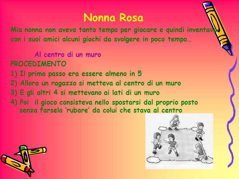 Nonna Rosa Mia nonna non aveva tanto tempo per giocare e quindi inventava con i suoi amici alcuni giochi da svolgere in poco tempo… Al centro di un mu