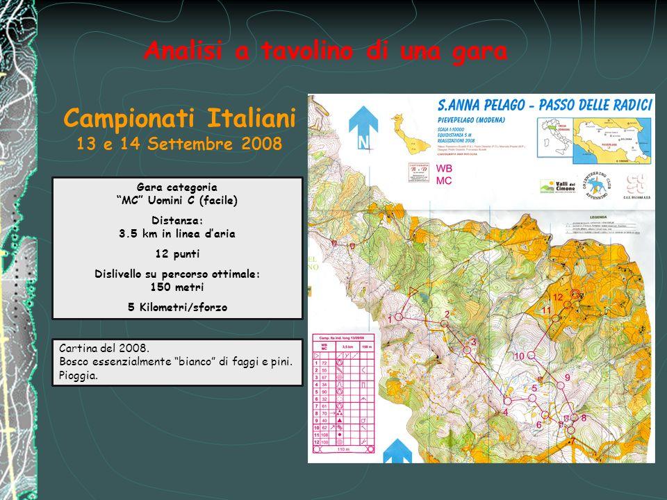 Analisi a tavolino di una gara Gara categoria MC Uomini C (facile) Distanza: 3.5 km in linea daria 12 punti Dislivello su percorso ottimale: 150 metri 5 Kilometri/sforzo Campionati Italiani 13 e 14 Settembre 2008 Cartina del 2008.