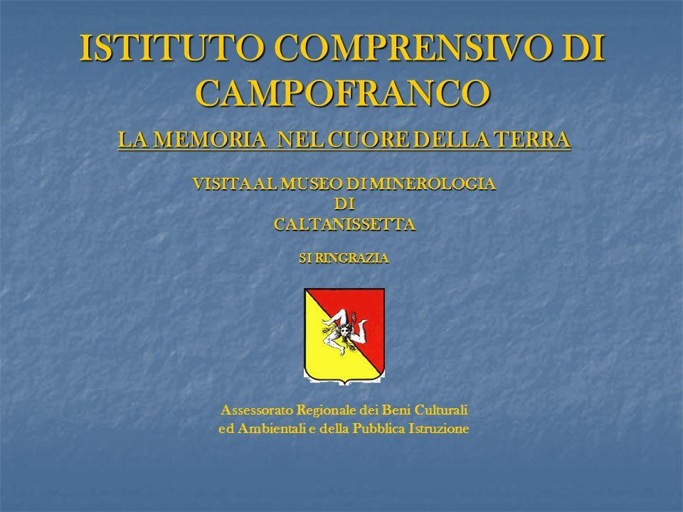 ISTITUTO COMPRENSIVO DI CAMPOFRANCO LA MEMORIA NEL CUORE DELLA TERRA VISITA AL MUSEO DI MINEROLOGIA DICALTANISSETTA SI RINGRAZIA SI RINGRAZIA Assessor