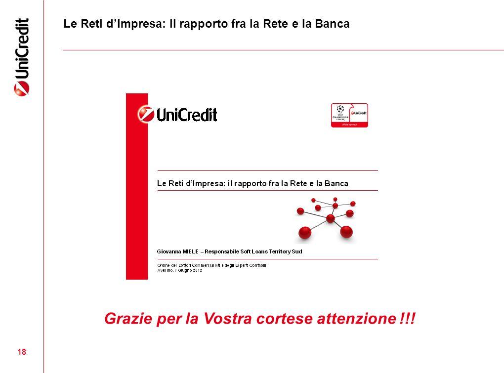 18 Le Reti dImpresa: il rapporto fra la Rete e la Banca Grazie per la Vostra cortese attenzione !!!