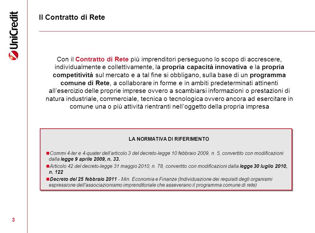 3 Il Contratto di Rete LA NORMATIVA DI RIFERIMENTO Commi 4-ter e 4-quater dellarticolo 3 del decreto-legge 10 febbraio 2009, n. 5, convertito con modi