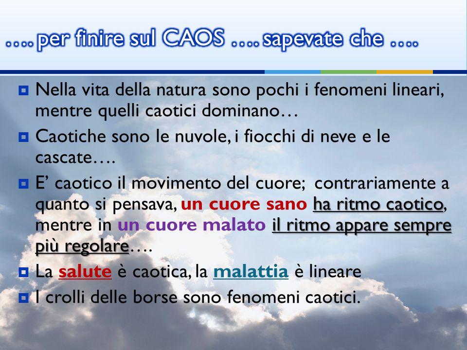 Nella vita della natura sono pochi i fenomeni lineari, mentre quelli caotici dominano… Caotiche sono le nuvole, i fiocchi di neve e le cascate…. ha ri