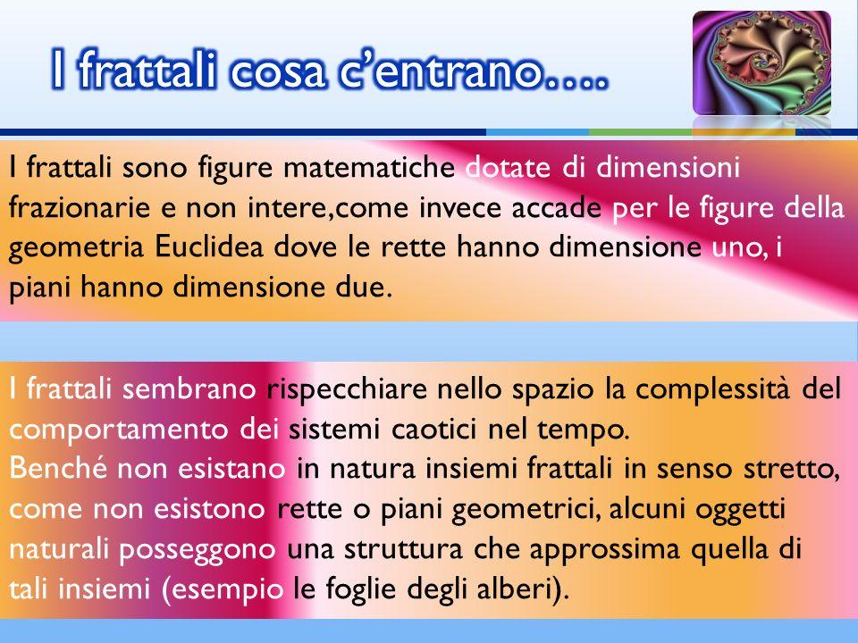 I frattali sono figure matematiche dotate di dimensioni frazionarie e non intere,come invece accade per le figure della geometria Euclidea dove le ret
