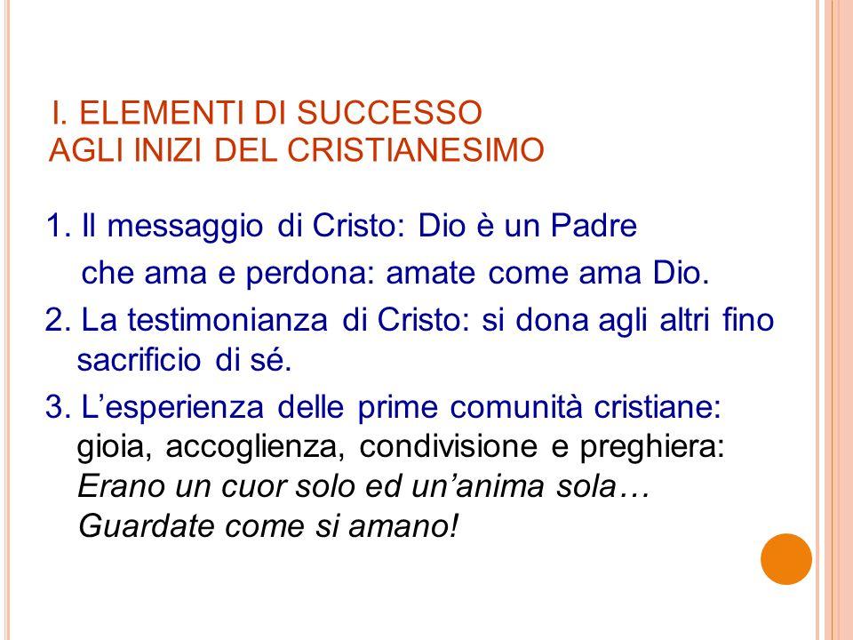 I. ELEMENTI DI SUCCESSO AGLI INIZI DEL CRISTIANESIMO 1.